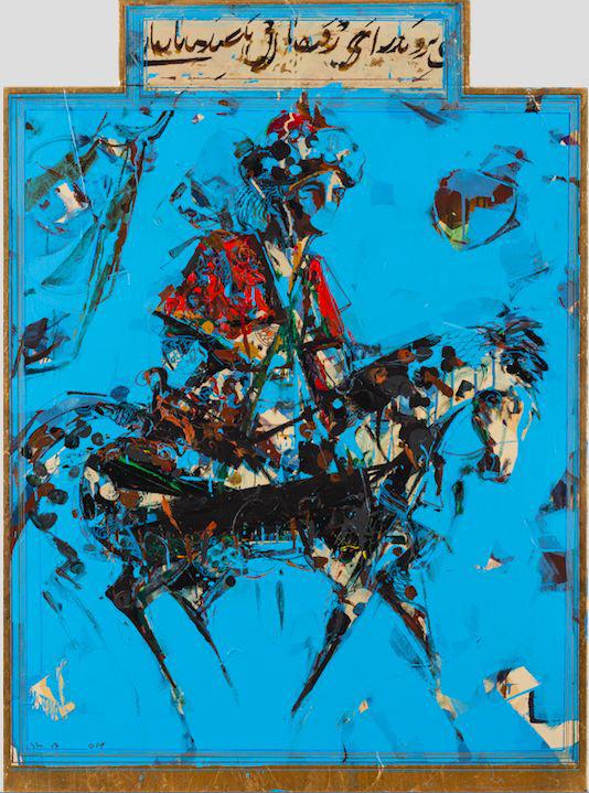 IN THE SEARCH OF FIRESTONE 2 2016 Shahriar Ahmadi SHOLEH ABGHARI art gallery Acrylic and Gold leaf on canvas 135 x 100 cm