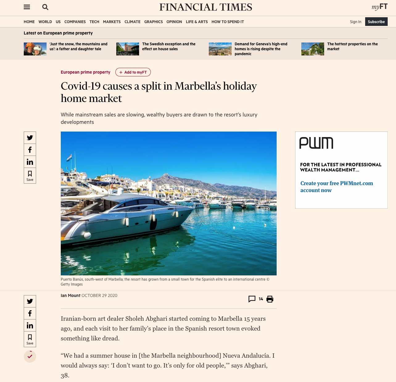 Covid-19 causes a split in Marbella's holiday home market sholeh abghari